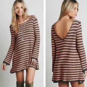 Free People Counting Stripes Swing Tunic Sweater M